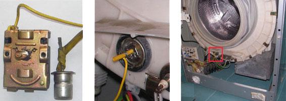 Расположение термодатчика стиральной машинки